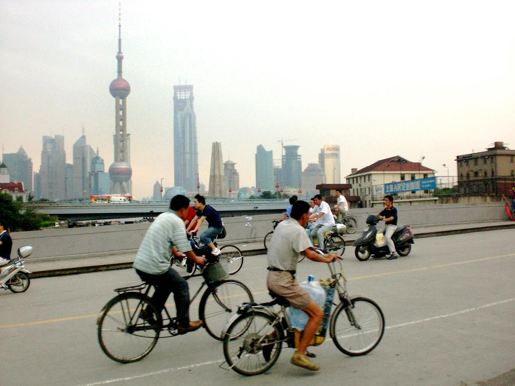 While learning Mandarin in China, students use free time to explore by cycling around the city.
